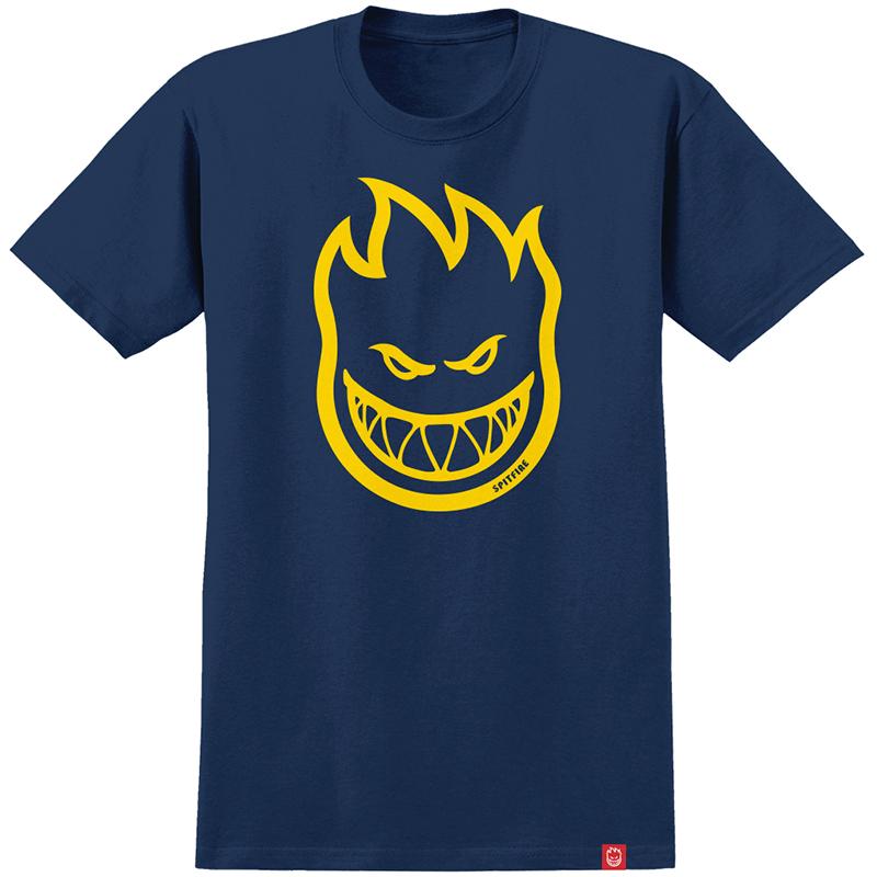 Spitfire Bighead T-Shirt Navy/Yellow/Gold