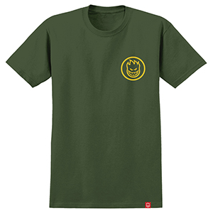 Spitfire Classic Swirl T-Shirt Military Green/Yellow