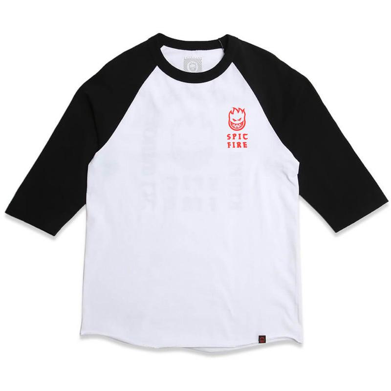 Spitfire Steady Rockin 3/4 Sleeve Raglan T-Shirt White/Black /Red