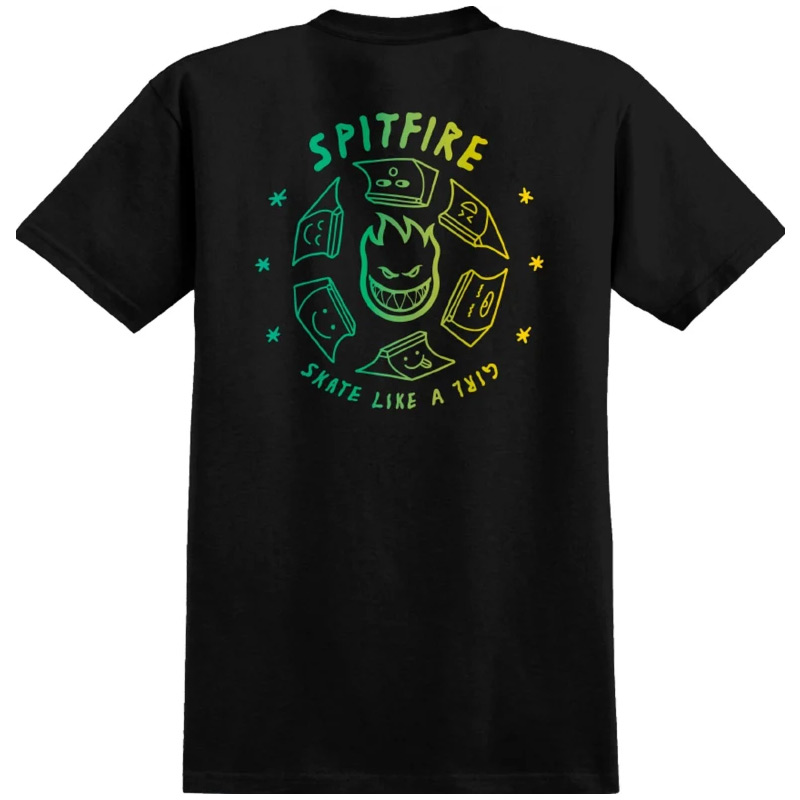 Spitfire x Skate Like A Girl Fade T-Shirt Black