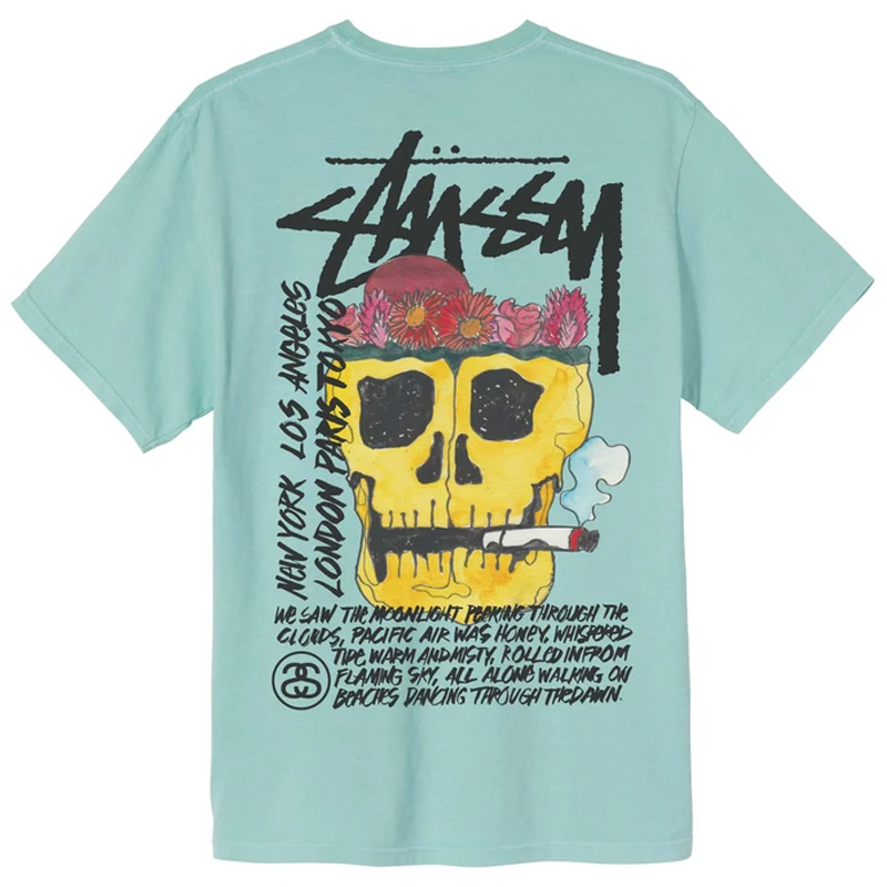 Stussy Smokin' Skull Pig. Dyed T-Shirt Aqua