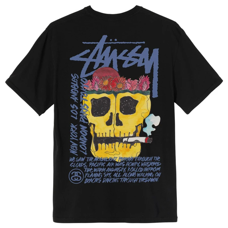 Stussy Smokin' Skull Pig. Dyed T-Shirt Black