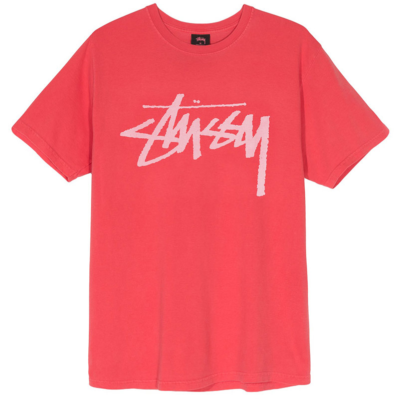 Stussy Stock Pig. Dyed T-Shirt Red