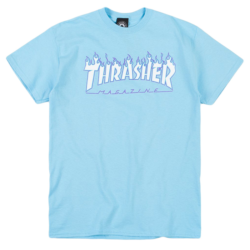 Thrasher Flame T-Shirt Sky Blue