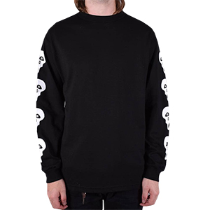 Tired Crappy Skull Longsleeve T-Shirt Black