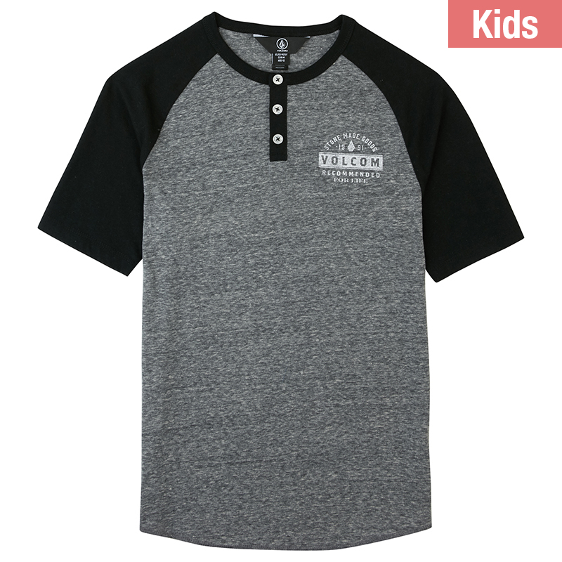 Volcom Kids Banks Colorblock Henley T-Shirt Black