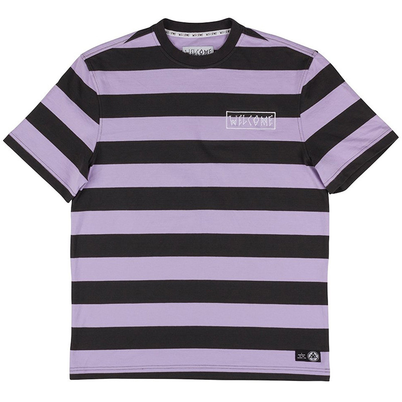 Welcome Big Beautiful Stripe Embroidered T-Shirt Black/Lavender