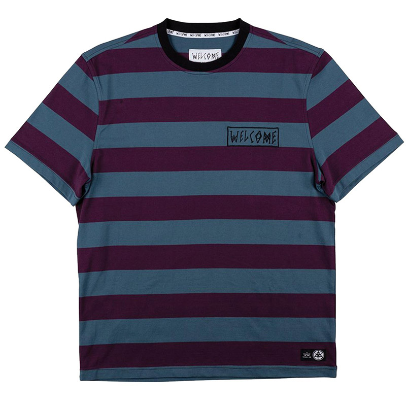 Welcome Thicc Stripe T-Shirt Plum/Slate