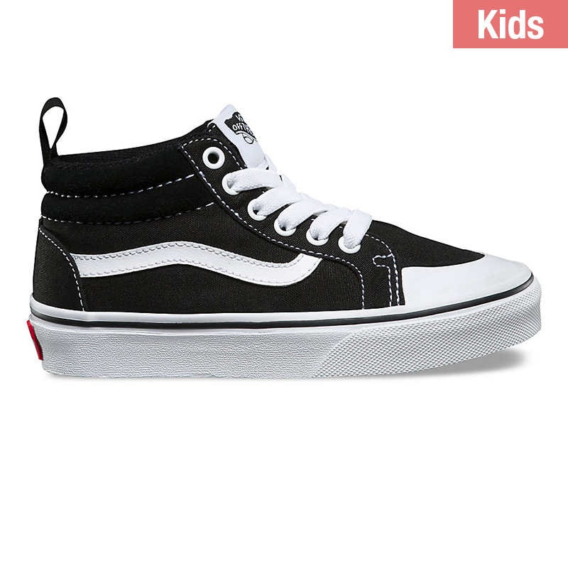 Vans Kids Racer Mid Canvas Black / True White