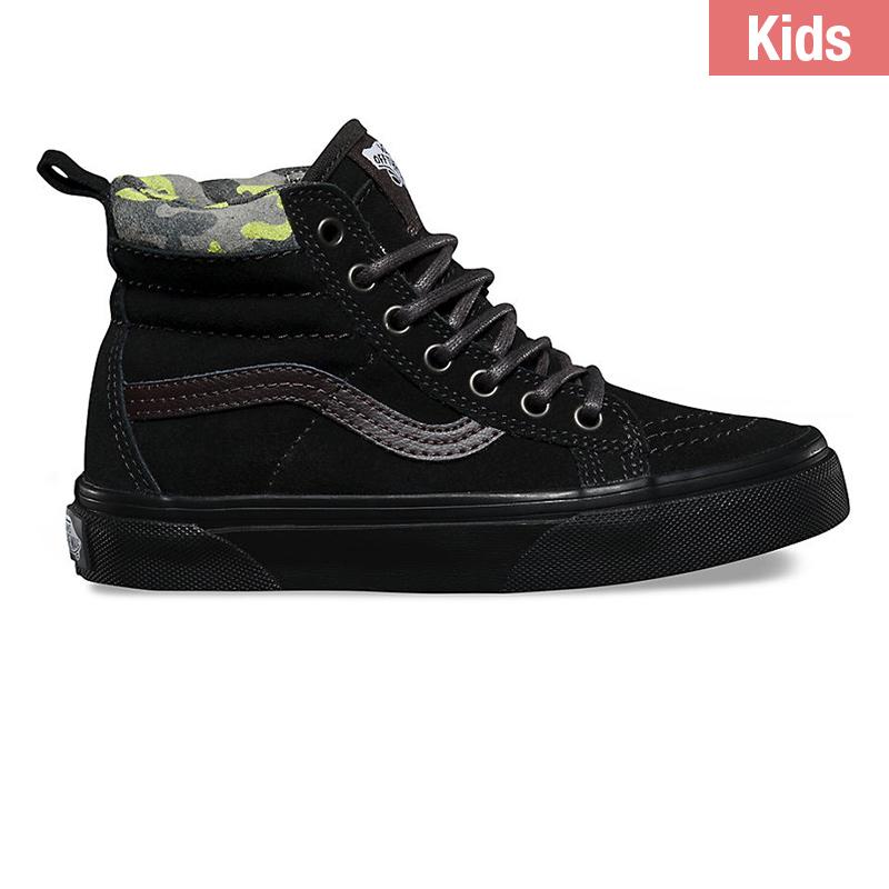 Vans Kids Sk8-Hi Matte Black/Lime