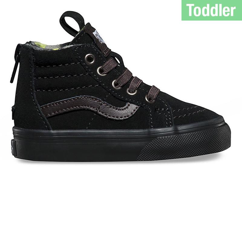 Vans Toddler Sk8-Hi Zip Matte Black/Lime