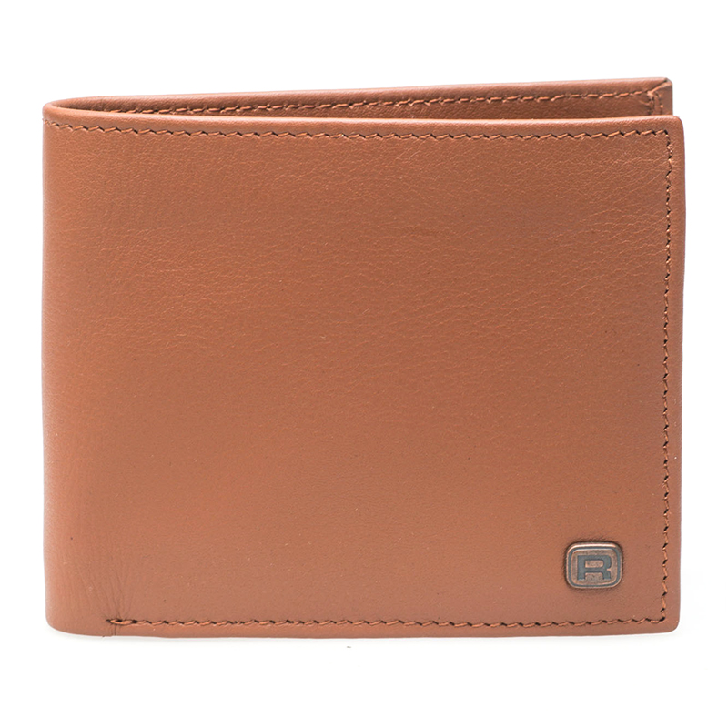 Reell Button Leather Wallet Cognac Tan