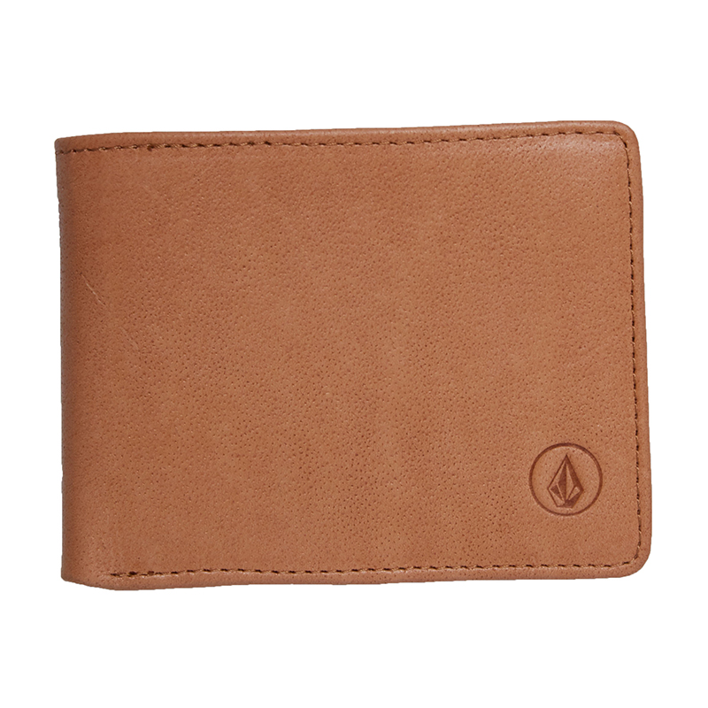 Volcom Strangler Leather Wallet Natural