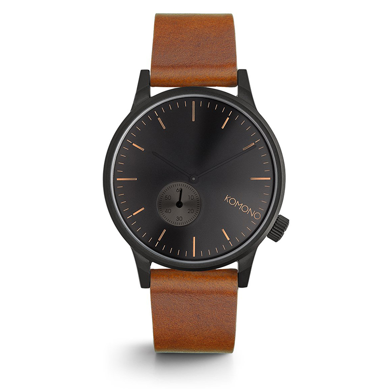 Komono Winston Watch Sub Black Cognac