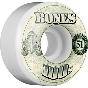 Bones 100's $ Wheel V4 Natural 100A 51mm