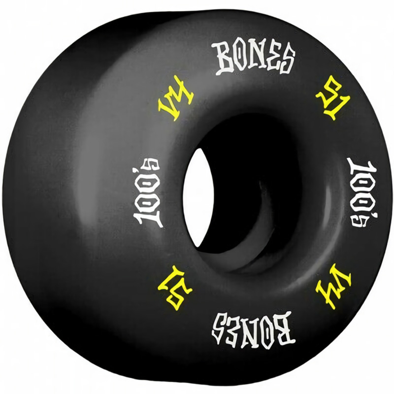 Bones 100's #12 Wides Wheels Black V4 100A 51mm