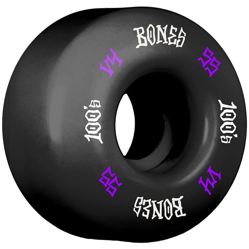 Bones 100's #12 Wides Wheels Black V4 100A 55mm