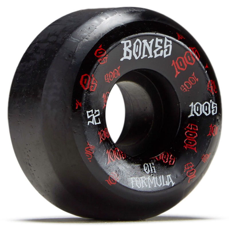 Bones 100's 3 Sidecut Wheels Black 100A 52mm