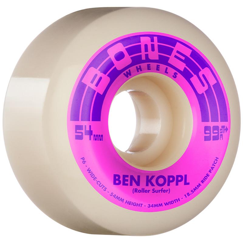 Bones STF Koppl Rollersurfer V6 Wide Cut Wheels 99A 54mm