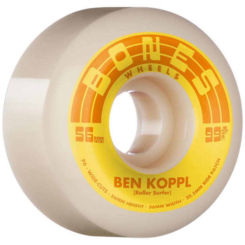 Bones STF Koppl Rollersurfer V6 Wide Cut Wheels 99A 56mm