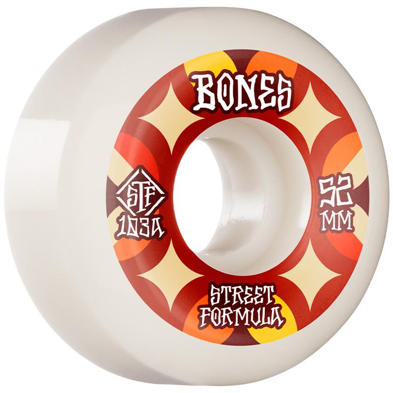 Bones STF Retros V5 Sidecut Wheels 103a White 52mm