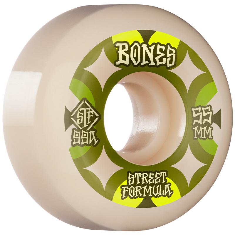 Bones STF Retros V5 Sidecut Wheels 99a White 55mm
