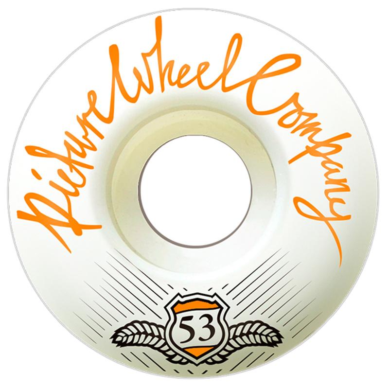 Picture Wheel Co POP White Background Wheels Tangerine 53mm