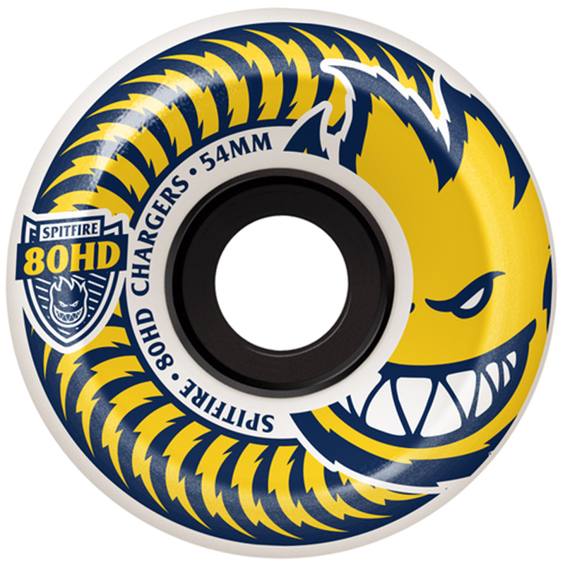 Spitfire 80HD Chargers Conicals Wheels White/Yellow 54mm