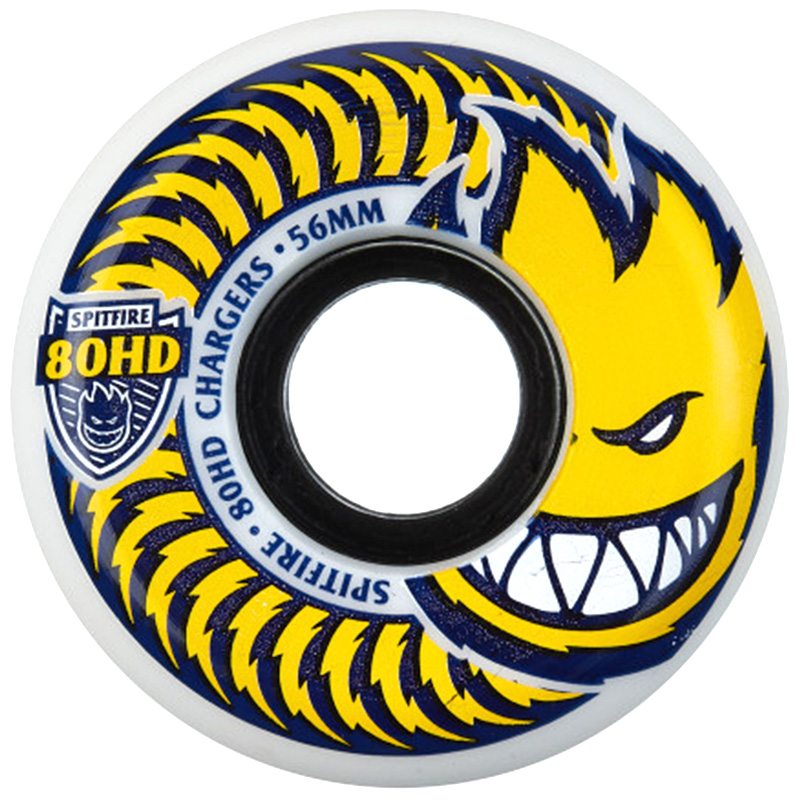 Spitfire 80HD Chargers Conicals Wheels White/Yellow 56mm