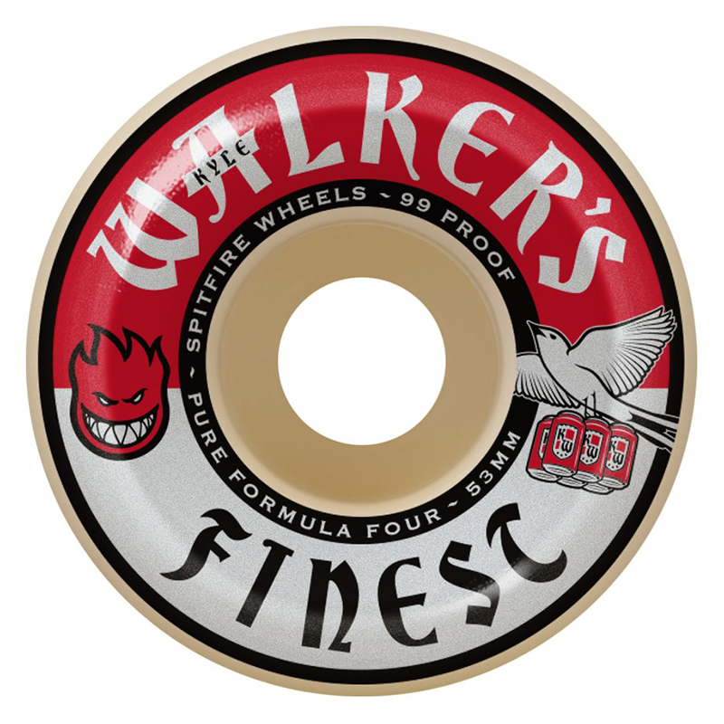 Spitfire Formula Four Walkers Finest Conical Full Wheels Natural 99D 52mm