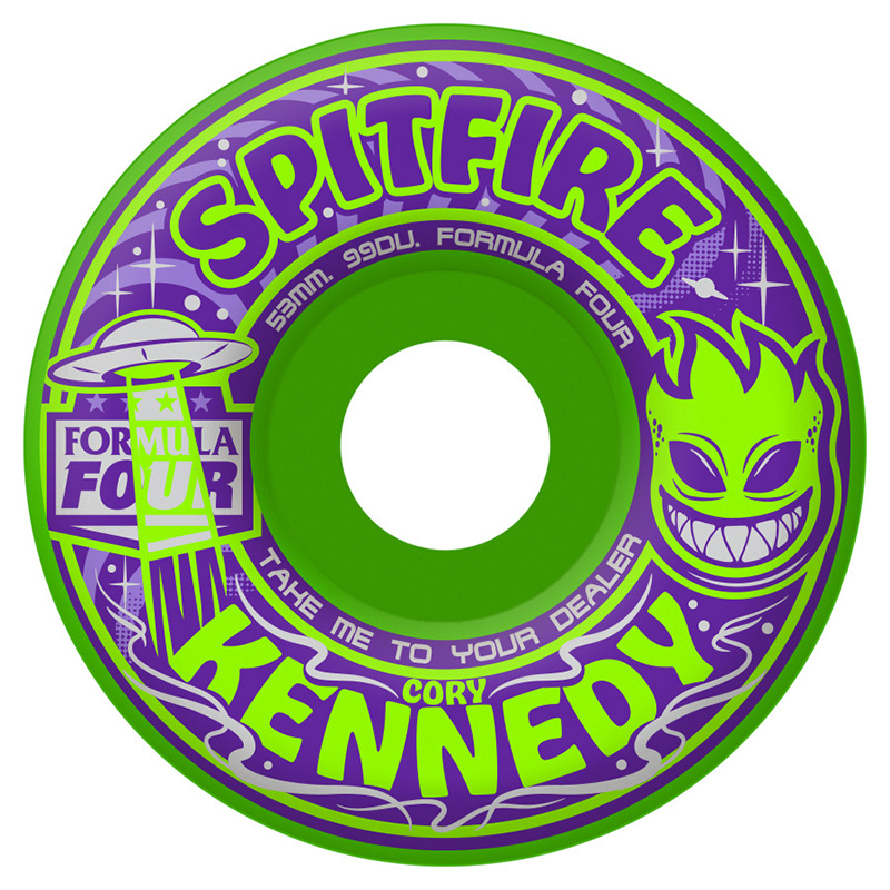 Spitfire Formula Four Kennedy Take Me to Your Dealer Wheels Green 99D 53mm