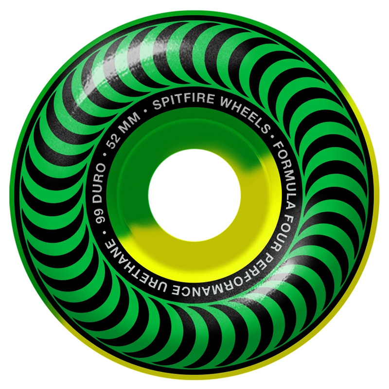 Spitfire Formula Four Classic 50/50 Swirl Wheels Green/Yellow 99D 52mm