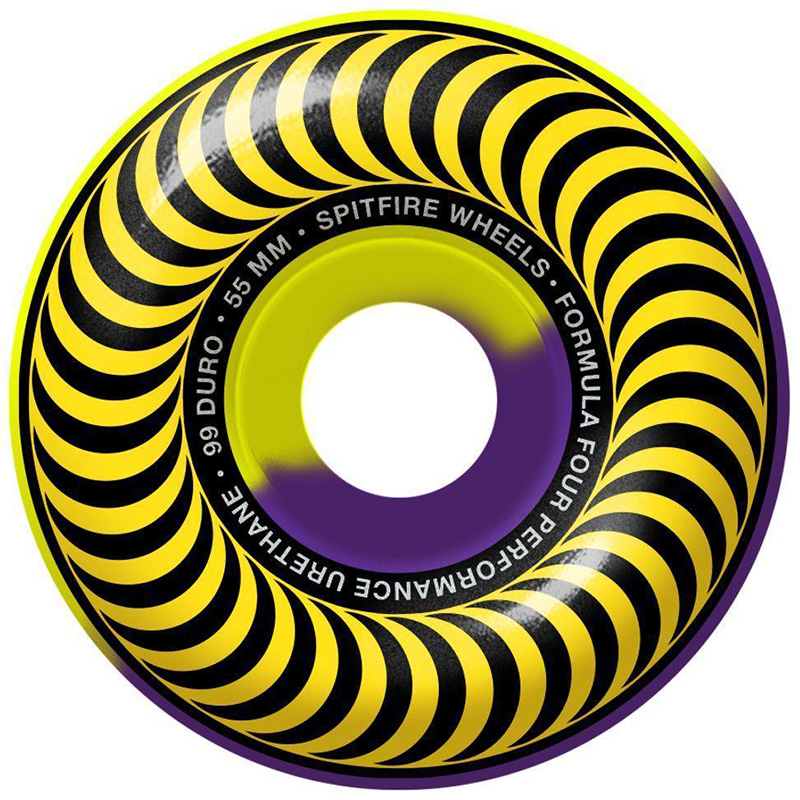 Spitfire Formula Four Classic 50/50 Swirl Wheels Yellow/Purple 99D 55mm