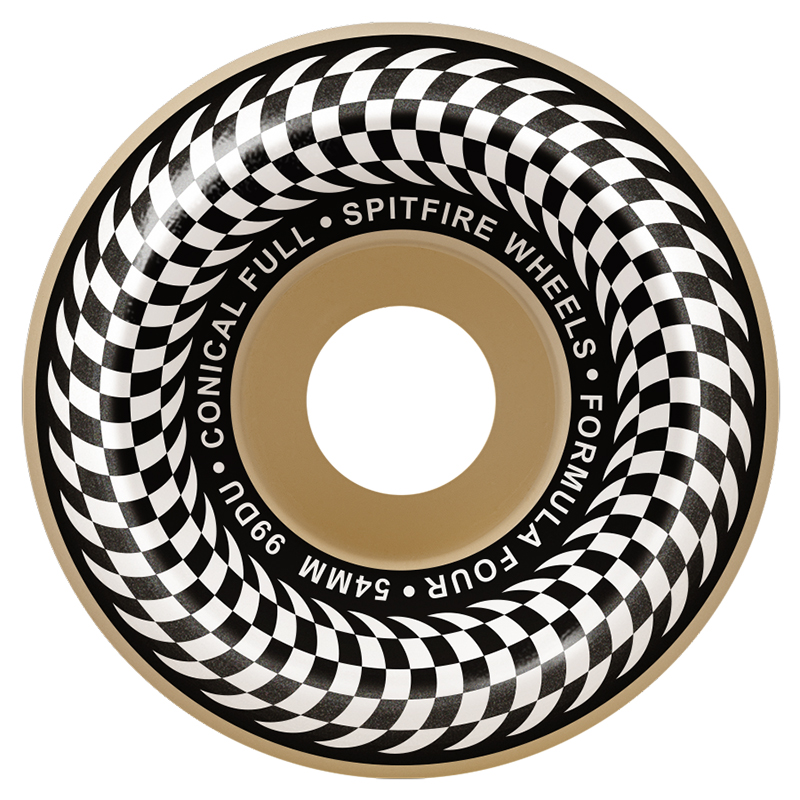Spitfire Formula Four Conical Full Wheel Check Natural 99D 52mm