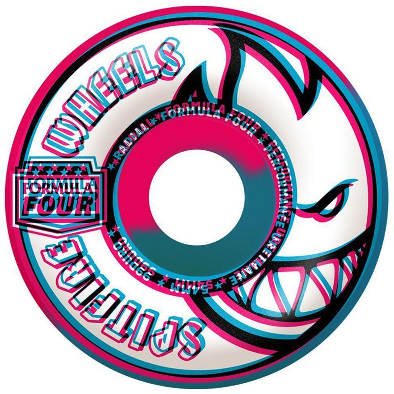 Spitfire Formula Four Overlay Radials Swirl Wheels Pink/Blue 99D 54mm