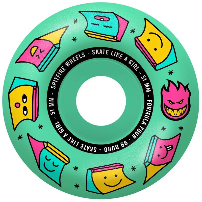 Spitfire x Skate Like A Girl Formula Four Radial Wheels Ice Mint 51mm